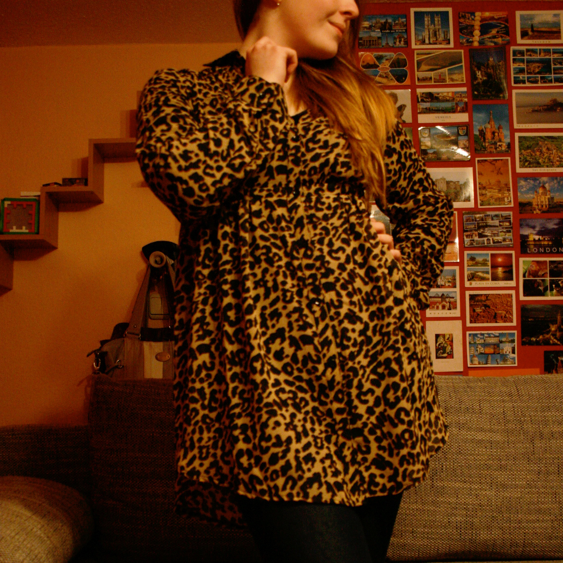 Outfit mit Leo Print Bluse