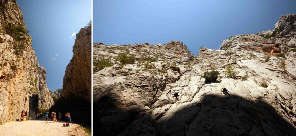 Kletterer an den Felswänden beim Parkeingang